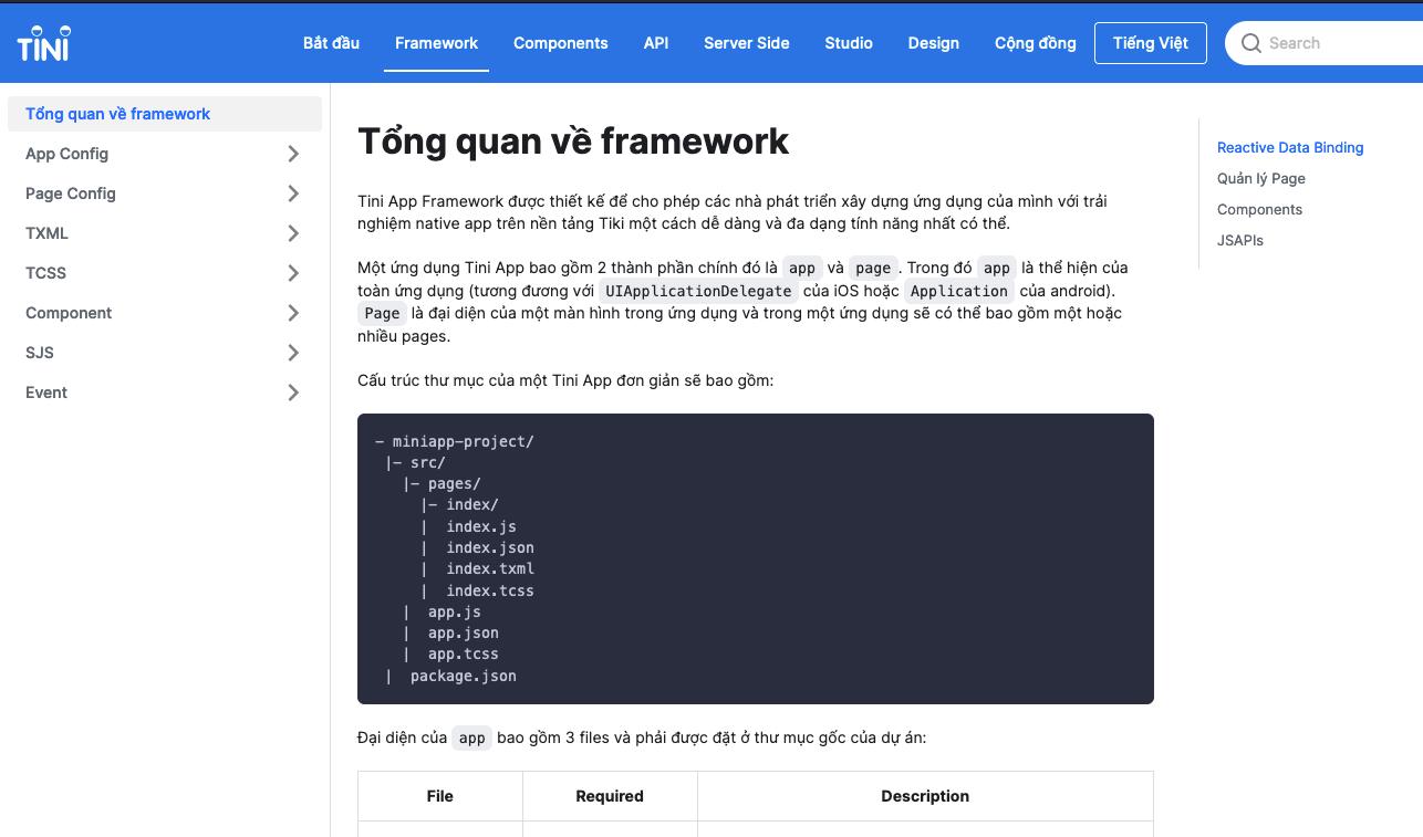 tiniapp framework